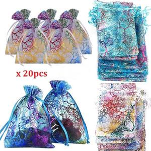 Glitter Ble Schmuckbeutel Sheer Organza Beutel Geschenk-Verpackung Leere Tasche Hochzeit Dekoration Candy Bag