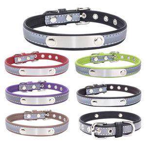 Küçük Orta Köpek DBC VT0877 için S-XL Yansıtıcı Deri Köpek Yaka Kişiselleştirilmiş Oyma Köpek Yaka Özel Köpek Kedi Pet yaka kimlik Etiketi
