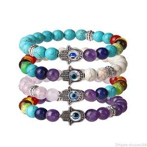 Chakra Beads Bracelets Evil Eyes 8mm Lava Rock Stone Beaded Bangle Hamsa Hand Fatima Palm Couple Charm Bracelets Natural Stones Yoga Jewelry