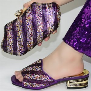 Summer Slipper African Sets Purple Color Italian Shoes with Matching Bags High Quality Nigerian Shoes and Bag To Match for Party