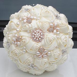 Lindo Cristal Marfim Buquê De Casamento Broche Bowknot Decoração Do Casamento Artifical Flores Bouquets De Noiva W252-17