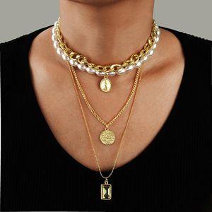Новые аксессуары Wild Multi-слойное жемчужное ожерелье женское монета кристалл кулон цепи женские женские ювелирные изделия