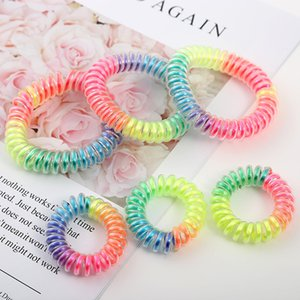 Colore dell'arcobaleno del legare di telefono dei capelli del Ponytail della fascia supporto elastico del telefono cavo della linea legame dei capelli Accessori per capelli