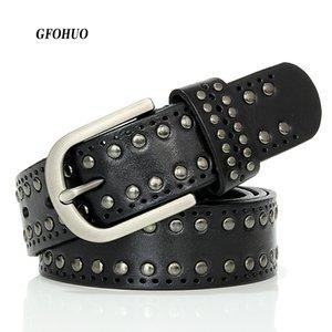 Gfohuo Fashion Luxury Designer Cinture Rivetto Donna Cintura in vera pelle di alta qualità Vintage Donna Cowskin Belt Per Jeans Y19070503
