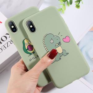 cabo do carregador de iphone do dinossauro dos desenhos animados Caixa do telefone do abacate por iphone 11 Pro X XR XS MAX 7 6 6S 8 Caso coração Além disso Silicone Amor TPU Soft Cover