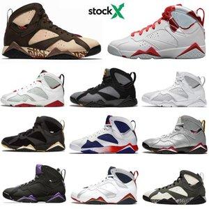 With box Retro NakeskinJordan 7 7s fashion basketball shoes Black purple men aj 1 designer sport casual shoeso71R#