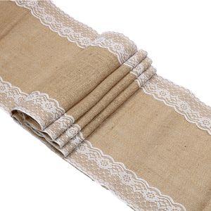 """2 unids Rústico Vintage Yute Burlap Table Runner con Lace 12 """"x70"""" 12 """"x108"""" Mantel para el banquete de boda Textiles para el hogar decoración de mesa"""