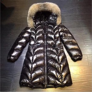 2019 new down jacket female soil long black shiny fox big fur collar slim slim thin anti-season fast delivery