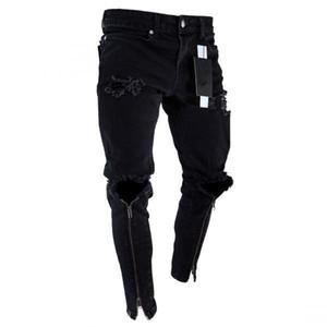 Mode-Hommes Zipper Holes Designer Black Jeans Slim Fit Ripped Représen Crayon Pantalons