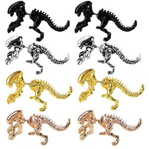 4 colores Alien Pendientes Dragón antigua pendiente Piercing Oreja Puños hombres de las mujeres pendientes de la manera dinosaurio regalos de joyas