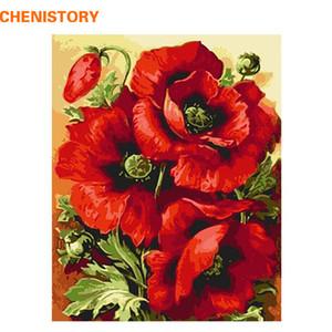 CHENISTORY Acryl Bild Rote Blume DIY Digital Painting By Numbers Wohnkultur Moderne Wand-Kunst-Leinwand-Malerei-Wand-Grafik