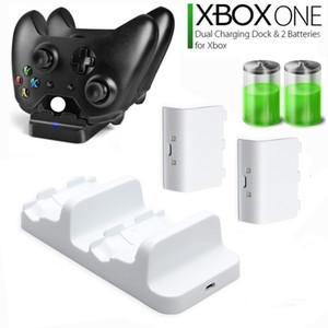 Para el cargador doble controlador de Xbox One / One X de alta velocidad de acoplamiento de carga posición de canal dual con 2pcs Paquetes de baterías recargables