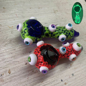 4 Inch Colorful Glass Smoking Pipe Spoon Eyes Luminous Hand Pipe Oil Burner Pipe Smoking Accessories