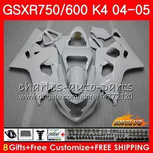 Bodys per SUZUKI GSXR 750 GSX R600 R750 GSXR600 2004 2005 7HC.28 GSXR 600 GSXR750 04 05 bianco lucido nuovo GSXR600 K4 GSXR750 04 05 carenature