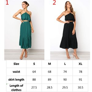 2019 DHL Donna Crop Top Maxi Skirt Set Elegante Halter Crop Top Midi Skirt Set Sexy Ruffle Estate 2 pezzi Vestito vestito