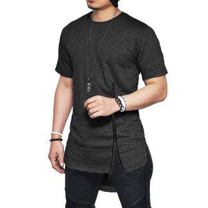 Mens Designer Summer Tshirts Нерегулярных Хем Zipper Split Short Sleeve Tops Casual Mens Твердые футболки