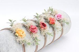 30pcs / Lot infantile fascia del fiore falsificazione fiore di nylon le fasce Per Bambini Ragazza floreale artificiale Fasce per la testa di nylon fascia del bambino