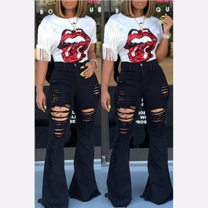 Womens Jeans cintura alta de la llamarada de los pantalones vaqueros Mujer Negro Bell Bottom Ripped jeans para mujeres dril de algodón flaco mamá pierna ancha de gran tamaño de los pantalones de las señoras