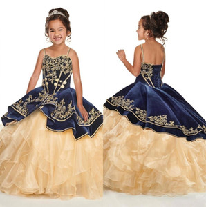 Spaghetti Straps Velvet A Line Flower Girls Dresses 2020 Gold Lace Appliques Organza Ruffles Kids Formal Wear Flower Girl Dresses BC2722