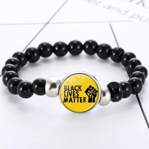 Siyah Hayatlar Matter Bilezikler I Cant Kadınlar Erkek Hediye Yeni Tasarım Protesto Siyah Takı için Moda Mektupları Elastik Boncuklu Bilezik Breathe