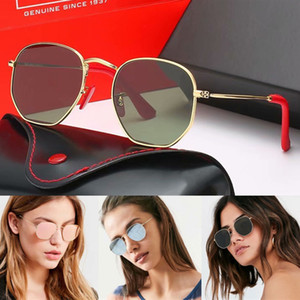 Diseño de marca marco polarizadas Gafas de sol Moda Hombres Mujeres piloto gafas de sol UV400 gafas de lente del metal de vidrio Polaroid con el caso y la caja