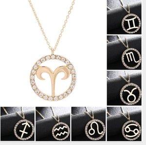 2020 nueva clase alta joyería de moda diamante 12 muestras del zodiaco Carta collar de los colgantes, clavícula collar suéter, Aries / Tauro / Géminis