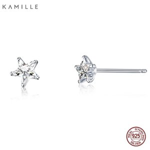 Kamille 925 Sterling Silver Zircon Star Stud Earrings For Women Fine Jewelry Accessories Birthday Party Valentine's Day Gift