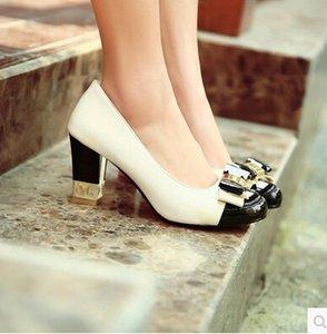 arco delicado encantador de la manera 2016 nueva primavera grueso con zapatos de tacón alto de color hechizo ronda más baja