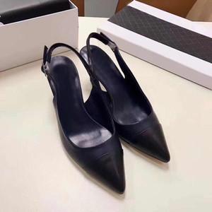 Neue schlanke Schuhe mit hohen Absätzen Authentische Damenschuhe aus weichem Rindsleder Schnalle Designer's Classic Brand Sandals Formelle spitze Sandalen