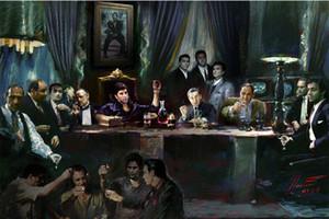 Scarface Ultima Cena di Gangs film Pittura decorazione domestica dipinta a mano HD Dipinti Stampa Olio su tela Wall Art Immagini 200226