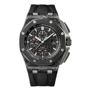 Hot ventes luxe royal série chêne 26401 44mm or rose 18 montre mécanique automatique, anneau en céramique noire montre montre design hommes