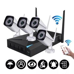 Cámara de 4 canales Wi-Fi inalámbrica IP 1080P HDMI sistema de cámara NVR exterior Inicio de Seguridad CCTV IR - enchufe de EE.UU.