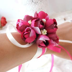Rose artificiale Sposa Fiori bracciali di perle floreali polso della mano Corsage regolabile per i monili di cerimonia nuziale di spiaggia della decorazione di cerimonia del partito regalo
