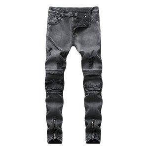 Neve Bound Piedi Slim Fori Pop2019 Commercio Estero Cross Border Degli Uomini europea locomotiva Fold Jeans