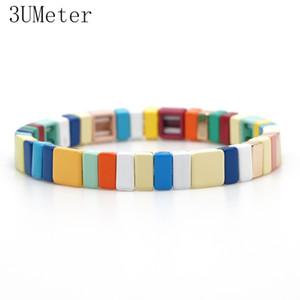 3UMeter 2019 Lack Neue Legierung Armband für Männer Frauen Multicolor-elastischen Armband Stacking Handgemachte Paar Geschenke