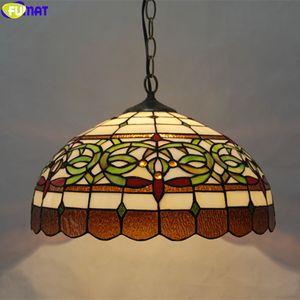 Fumat Tiffany singolo capo Droplight luce del pendente di vetro macchiato Hanging Lamp Fixture Home Decor Colorful arte artigianale di illuminazione