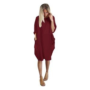 2019 Automne Femmes Robes Poche Lâche Dress Dames Crew Neck Casual Longue Fille Tops Dress Robe mode féminine grand