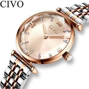 Civo Lüks Kristal İzle Kadınlar Su Geçirmez Gül Altın Çelik Kayış Bayanlar Bilek Saatler Üst Marka Bilezik Saat Relogio Feminino Y19062402
