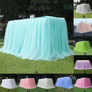 Tutu Tulle Jupe de table élastique Mesh Tulle Art de la table pour Nappe de soirée de mariage Décoration de table Accueil Textile Accessoires