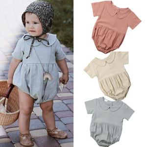 2020 Ropa de bebé verano infantil lindo de los bebés Solid Body de cuello Peter Pan Monos Conjuntos ropa casual Playsuit
