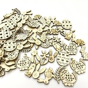 50pcs Mix Shape Easter Wooden Eggs Wood Hanging Pendant Easter Party Supplies Craft DIY Ornament Hanging Tag Happy Easter Decor