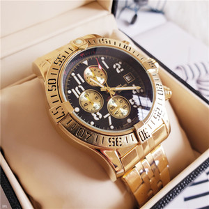 NEW 남성 시계 44.5mm 오션 레이서 A1338012 블랙 다이얼 VK 석영 크로노 그래프 작업 스테인레스 스틸 남성 손목 시계 Bainianling