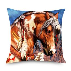 Federa di olio di cavallo Lion Covers Covers Acquerello Arte Lino Federa 45X45cm Camera da letto Divano Sedia Decorazione
