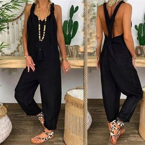 New Women High Street Casual Pants Sexy Strip Backless Loose Solid Women's Jumpsuits Party Beach Bodycon Overalls For Women