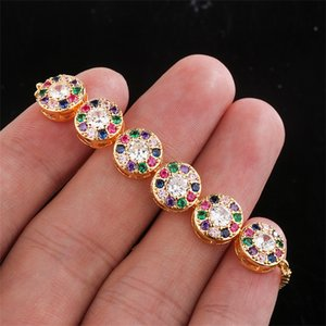 2020 Bracelets Gold Copper multicolor Cubic Zircon Round crystal Box Chain Bracelet Bangle Wedding Jewelry for Women Gift