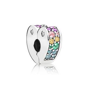 Nova Chegada 925 Charmas de Prata Esterlina Caixa Original para Pandora Arco Multi-Colorido de Amor Clipe Cristais Pulseira DIY Acessórios