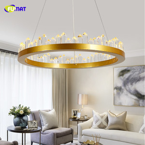 Fumat Kronleuchter für Wohnzimmer Schlafzimmer Arbeitszimmer Raum rund 110V 220V Gold + Schwarz Deckenleuchter Kristalllampe