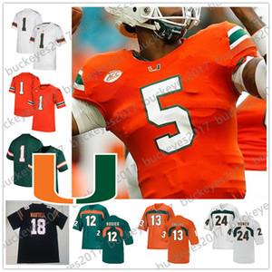 Пользовательские Майами Ураганы 2019 Футбол Любой Название Номер 18 Tate Martell 5 N'Kosi Перри 12 Malik Розье Бернс Зеленый Оранжевый Черный Белый Джерси