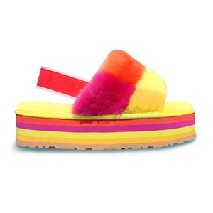 2020 NEW Mens Fluff Yeah Slide Luxury Women Designer Sandals Rainbow Plain Yellow Pantoufle Women's Furry Slippers Hausschuhe man Slides