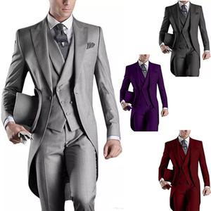 2019 패션 남자 정장 신랑 턱시도 결혼식 정장 Swallowtail Tailcoat 바지 Prom 공식 비즈니스 정장 Jacket + Pants + Vest